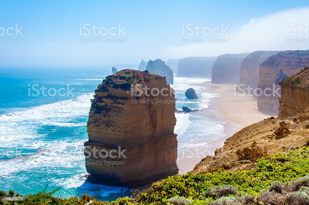 The Twelve Apostles by Great Ocean Road in Victoria, Australia stock photo