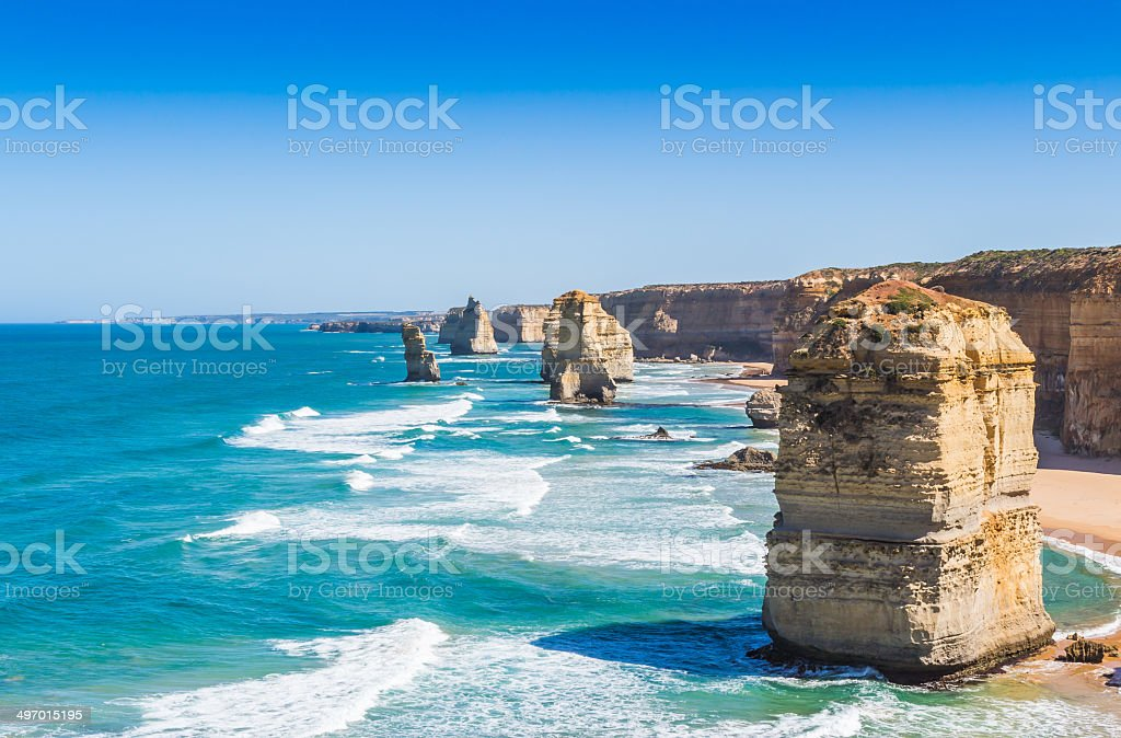 The twelve apostles in Victoria Australia stock photo