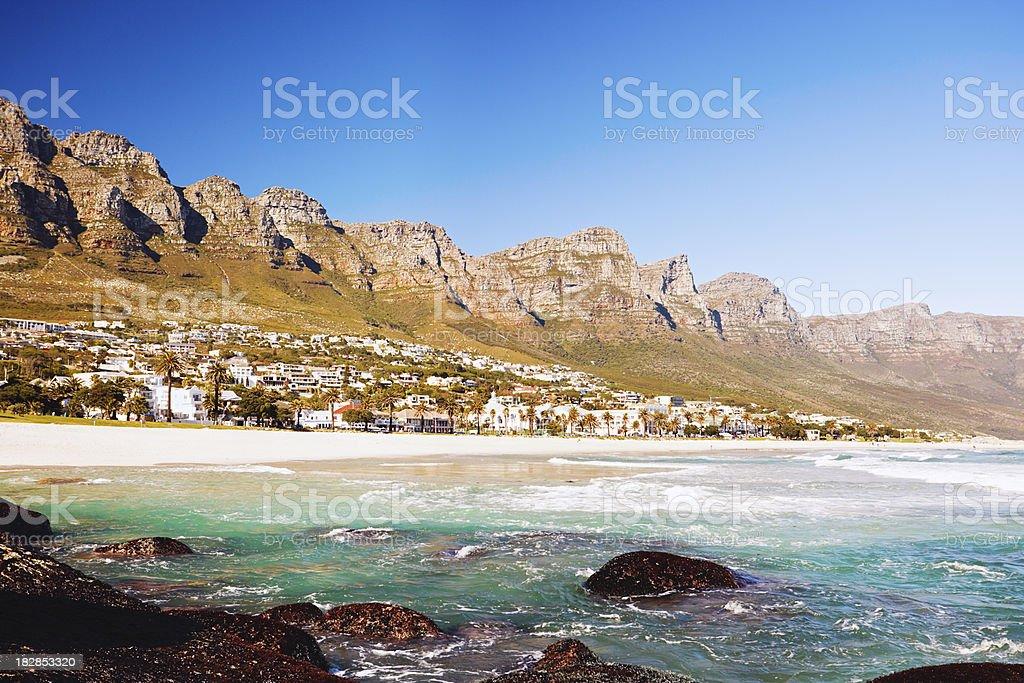 The Twelve Apostles mountain range, Camps Bay, Cape Town royalty-free stock photo