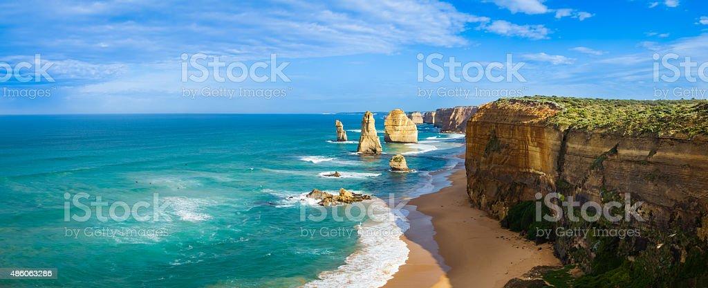 The Twelve Apostles seastacks panorama Australia stock photo