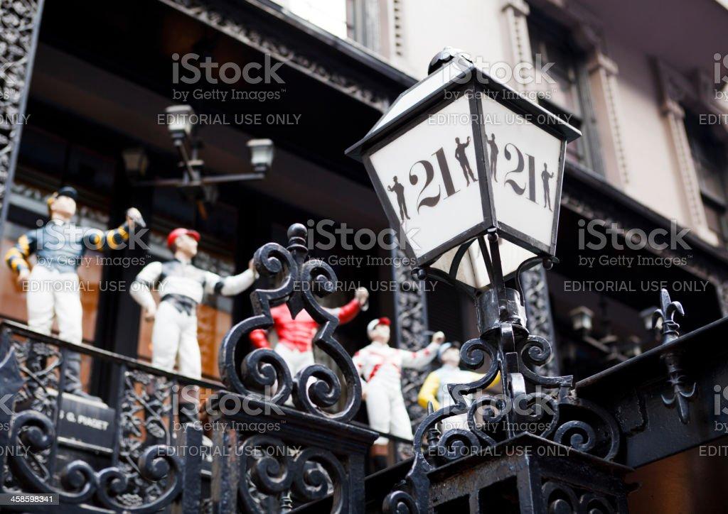 The Twenty One Club Lamp and Jockeys Manhattan stock photo