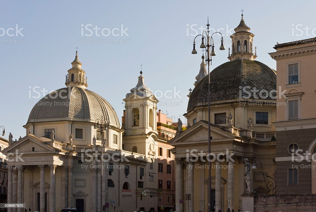 The twin churches of  Rome, Italy stock photo
