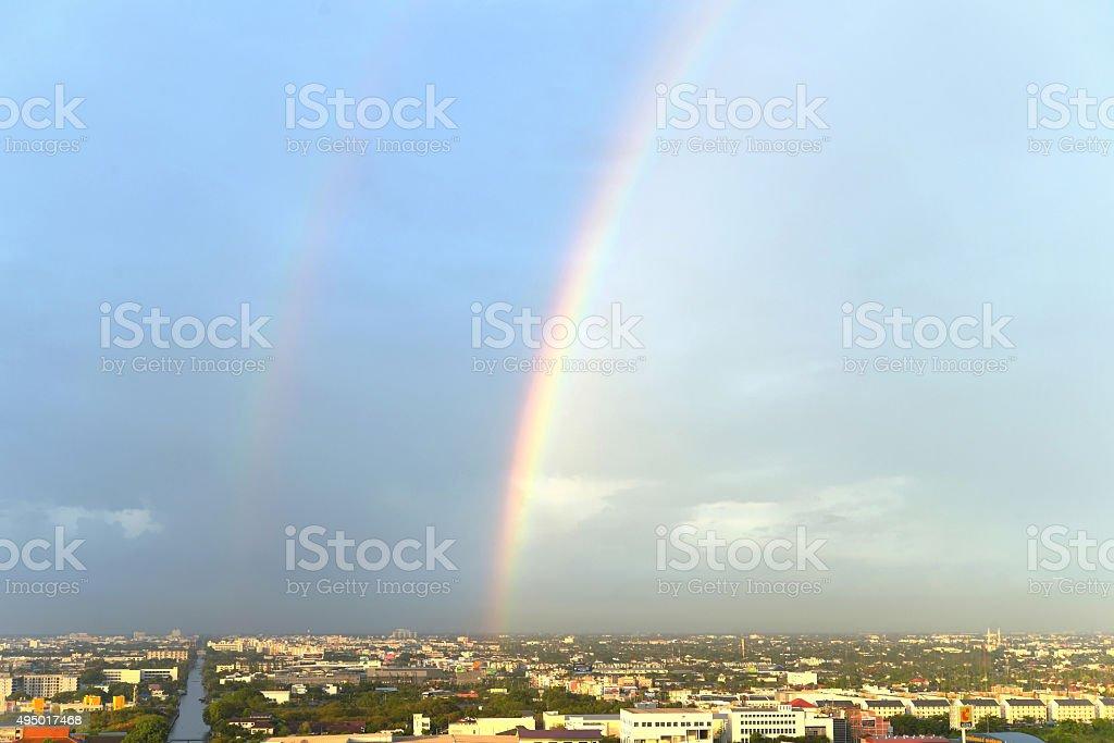 The twin rainbow bridge stock photo