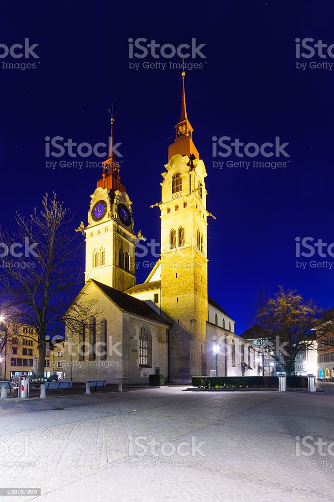 The Twin-towered town church in Winterthur stock photo