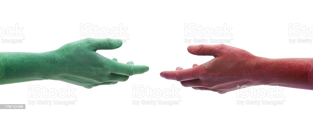 The two arms stretching to each other royalty-free stock photo