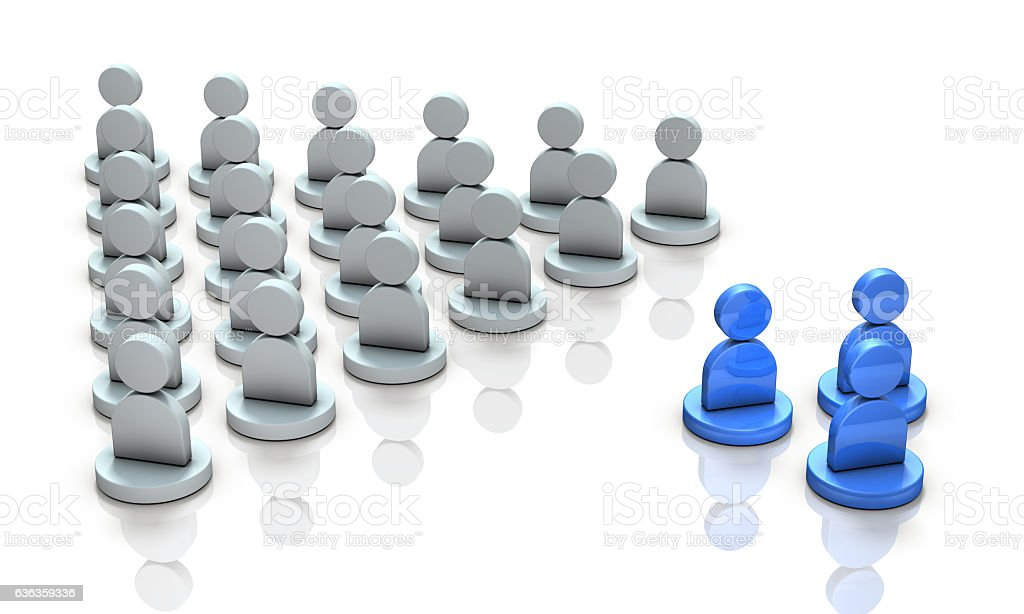 The two groups are in conflict. stock photo