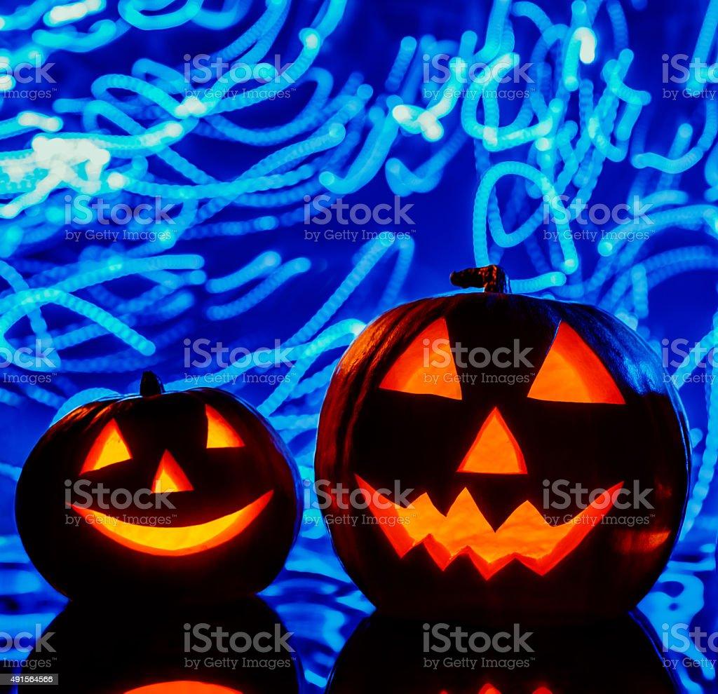 The two halloween pumpkins stock photo