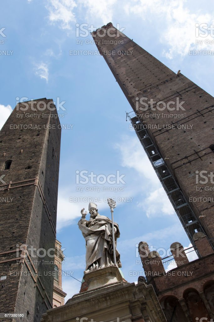 The two towers in Bologna. stock photo
