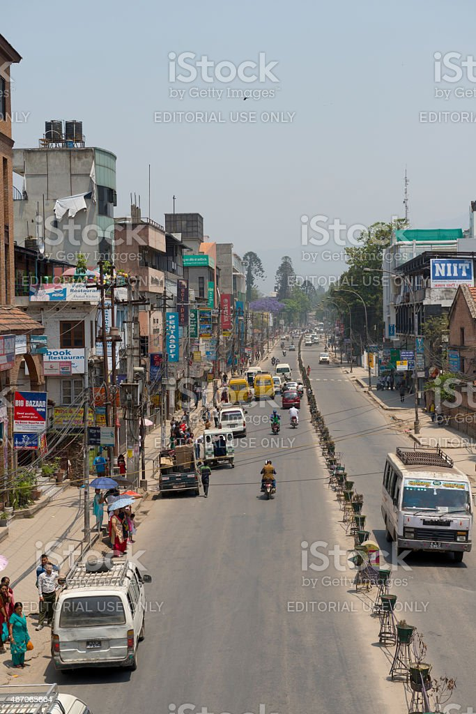 The typical street in a center of Kathmandu stock photo