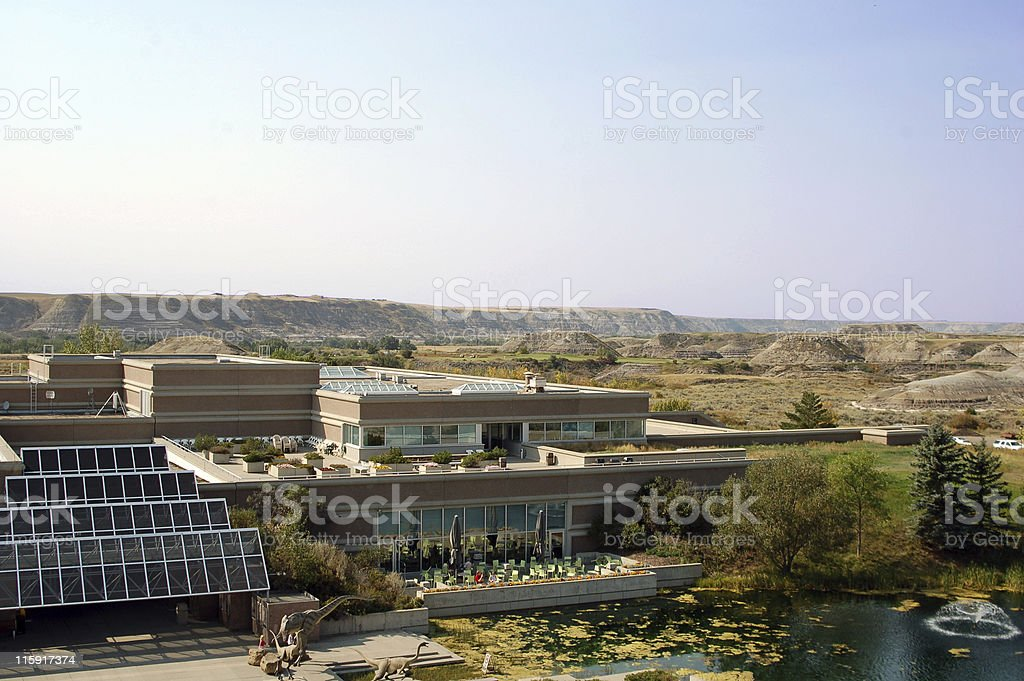 The Tyrrell Museum and Alberta Badlands stock photo