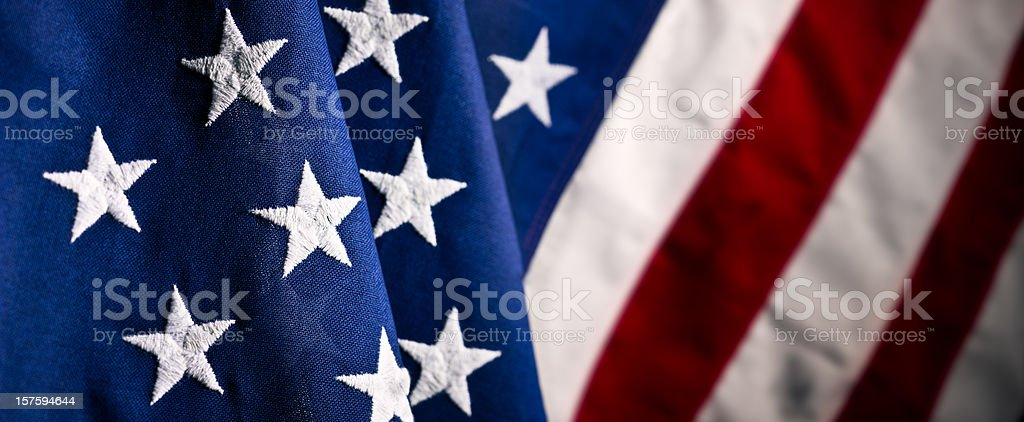 The U S A fabric flag close up stock photo