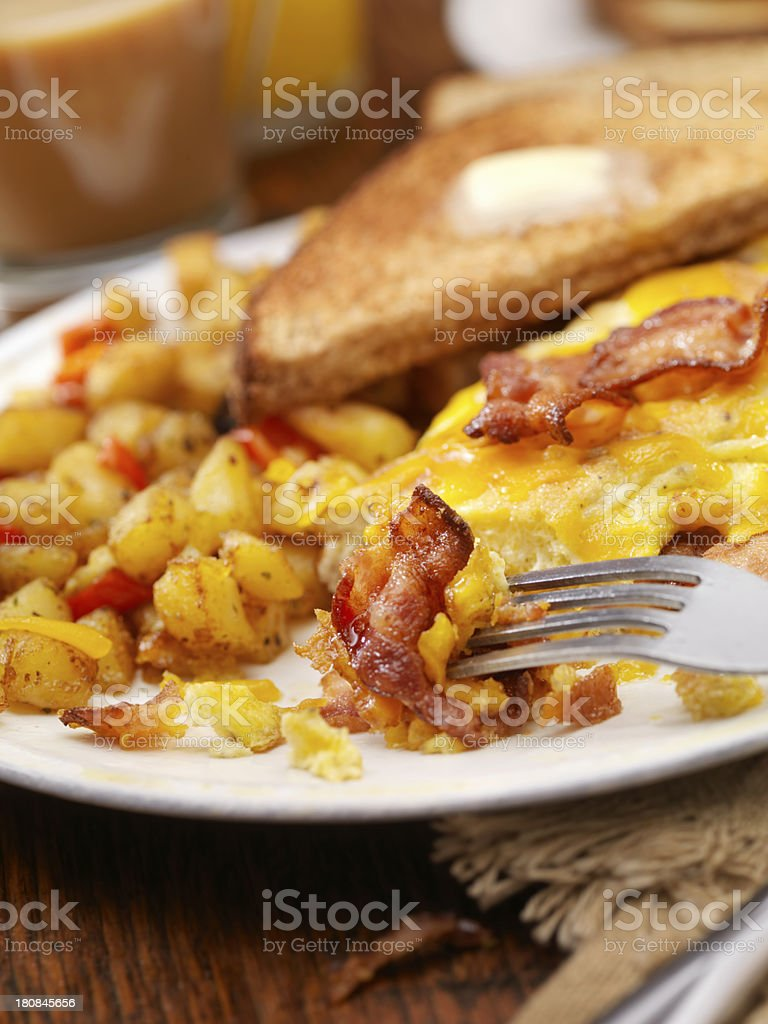 The Ultimate Bacon And Cheddar Cheese Omelette stock photo