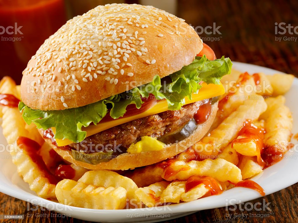 The Ultimate CheeseBurger and Fries stock photo