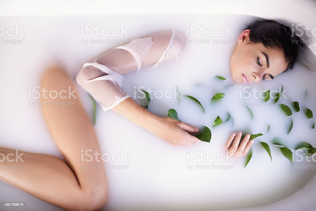The ultimate DIY milk bath stock photo