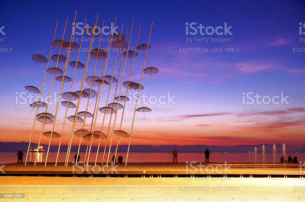 The 'Umbrellas' Installation at the New Waterfront of Thessaloniki stock photo