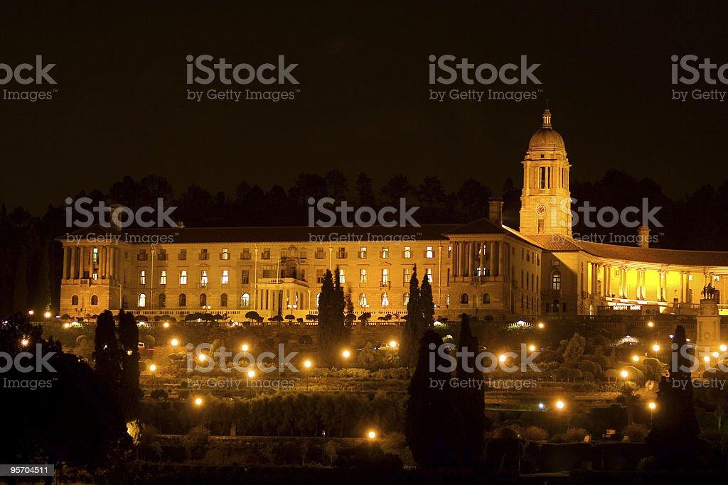The Union Buildings in Pretoria at night stock photo
