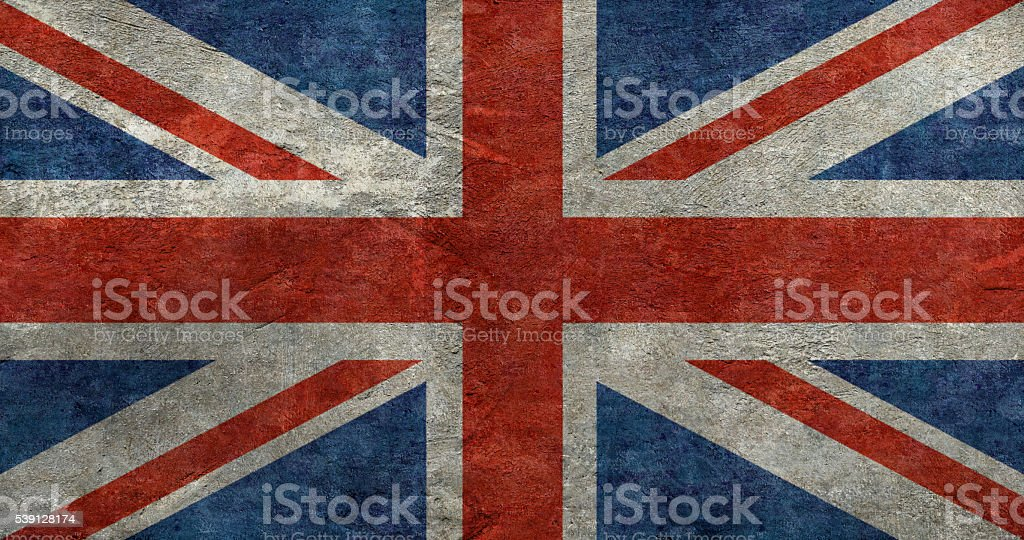 The Union Jack flag in a vintage distressed style filter stock photo