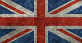 The Union Jack flag in a vintage distressed style filter