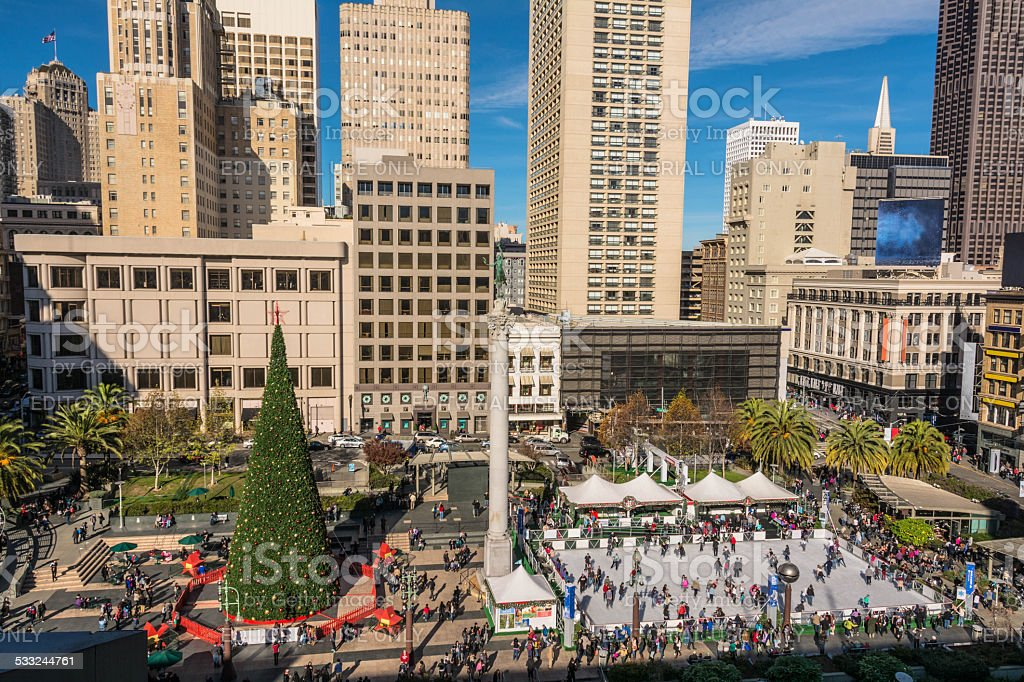 The Union Square at Christmas time, San Francisco stock photo