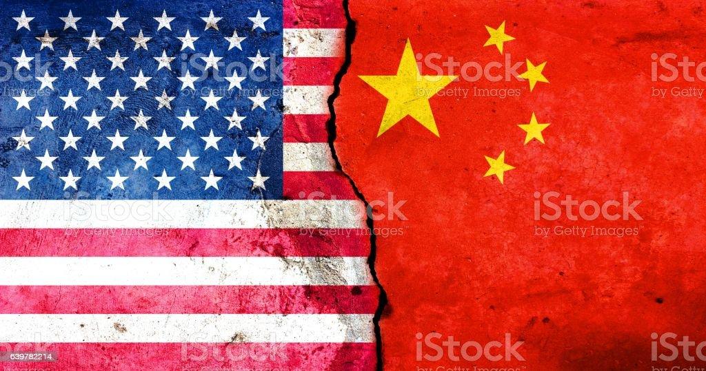 The United States against China stock photo