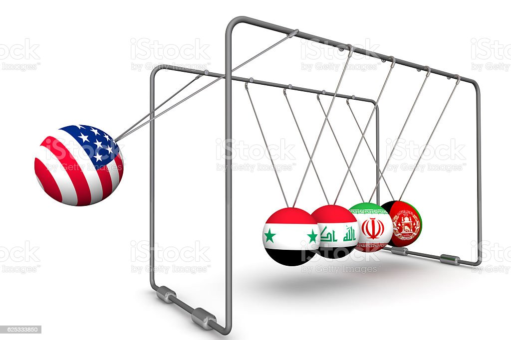 The United States as a destabilizing factor in geopolitics. The concept stock photo