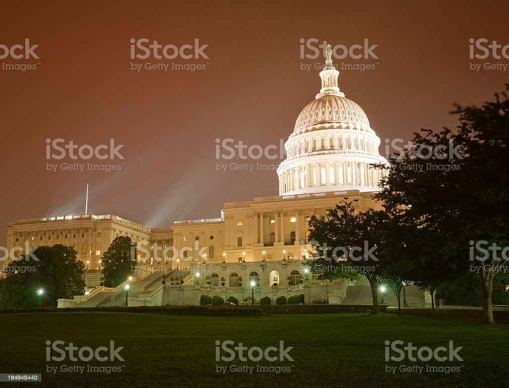 The United States Capitol at night - Washington DC royalty-free stock photo