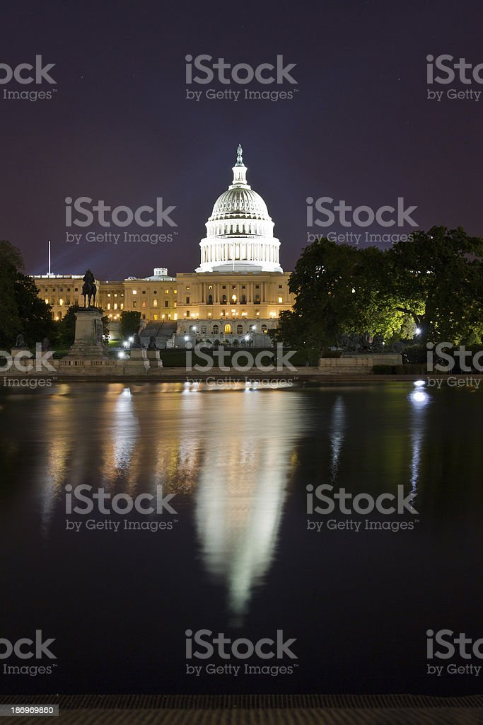The United States Capitol Building at night, Washington DC stock photo