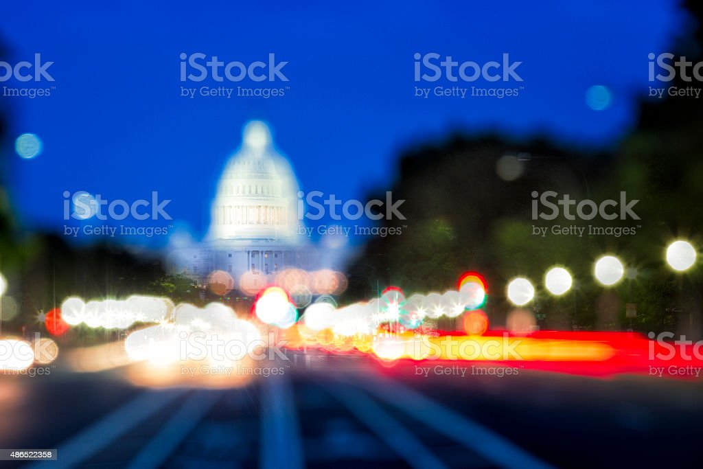 The United States Capitol with Blurred Background stock photo