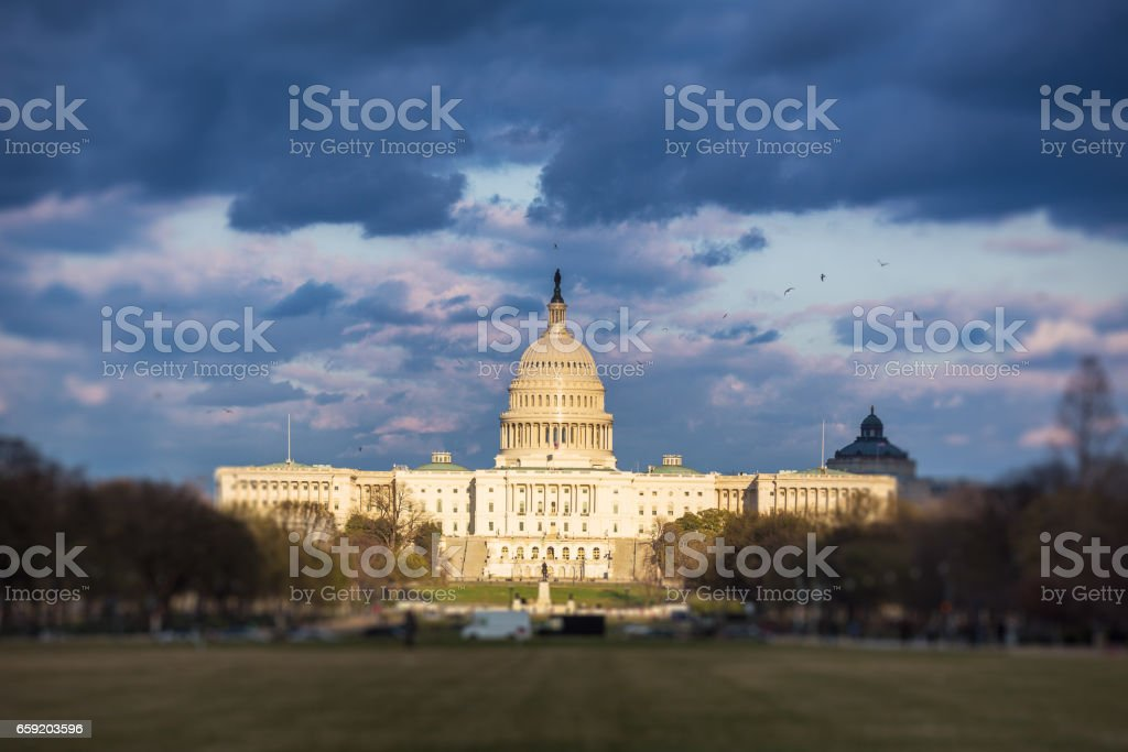 The United States Capitol with dramatic sky stock photo