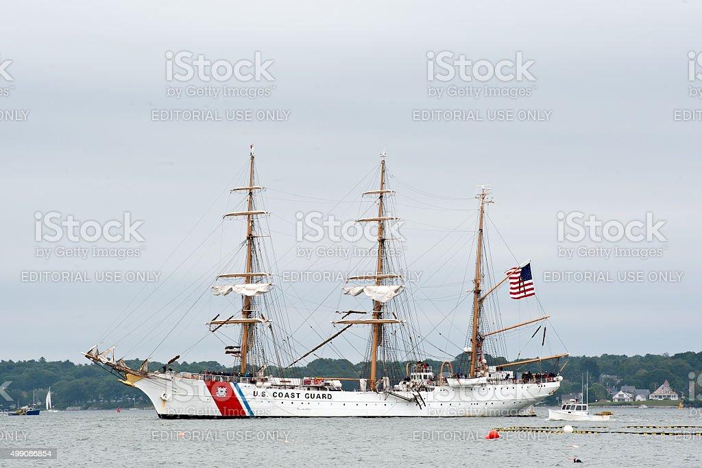 The United States Coast Guard Cutter Eagle in Portland Harbor stock photo