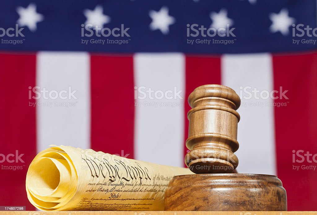 The United States Constitution, Flag, And Gavel royalty-free stock photo
