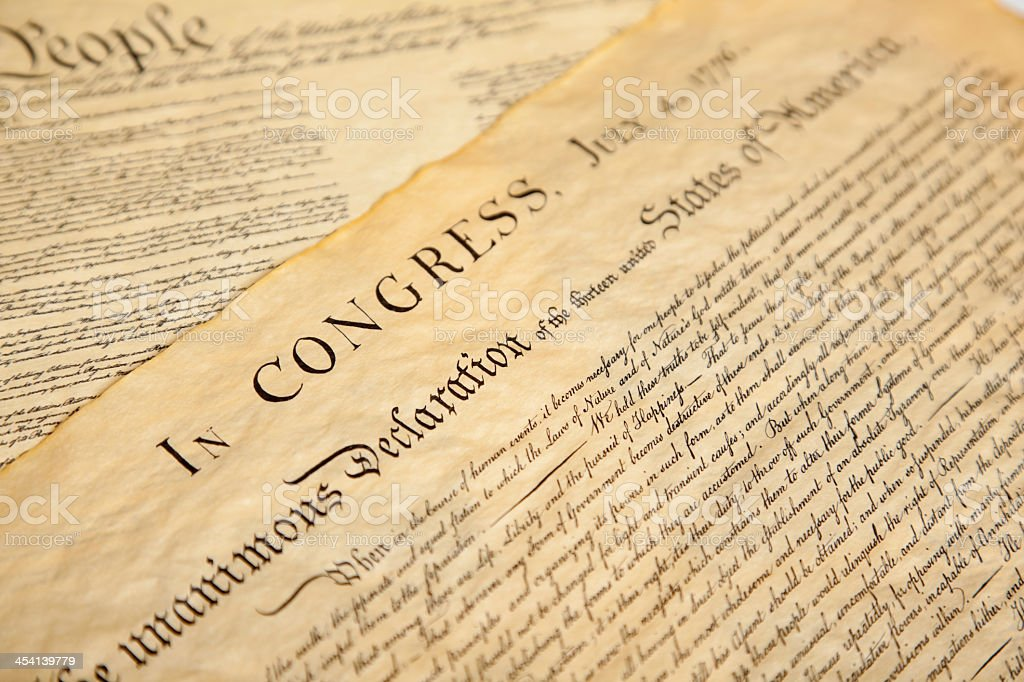 The United States Declaration of Independence  stock photo
