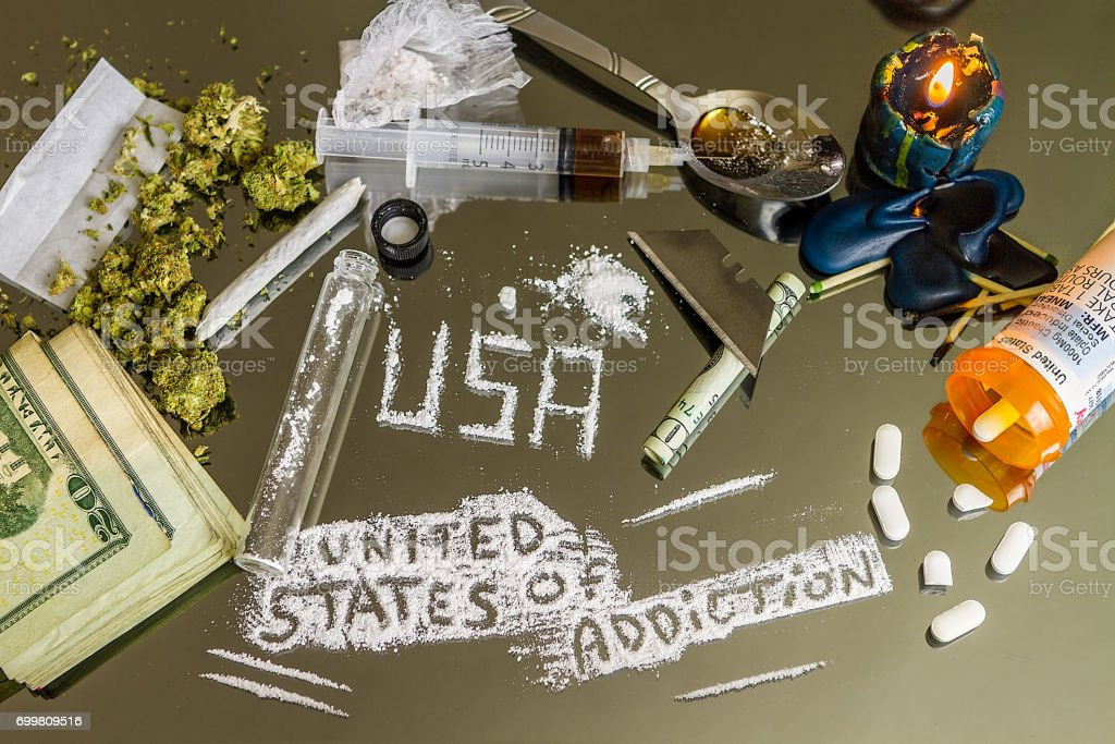 The United States of Addiction.  America's Epidemic Drug/Opiate Crisis stock photo