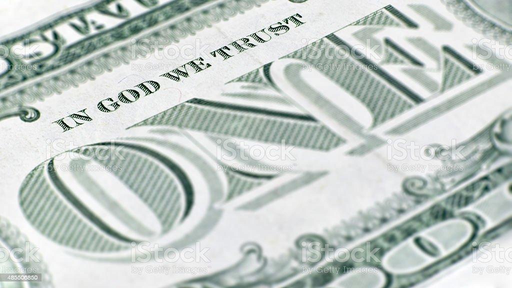 The United States one dollar bill, a macro closeup. stock photo
