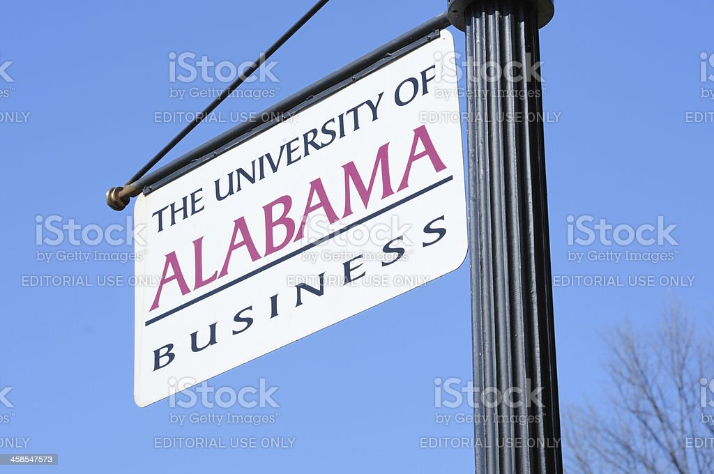 The University of Alabama Business Sign stock photo