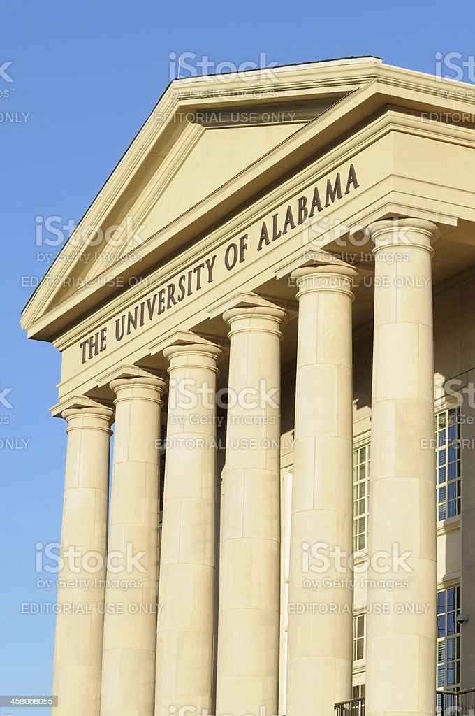 The University of Alabama sign on building stock photo