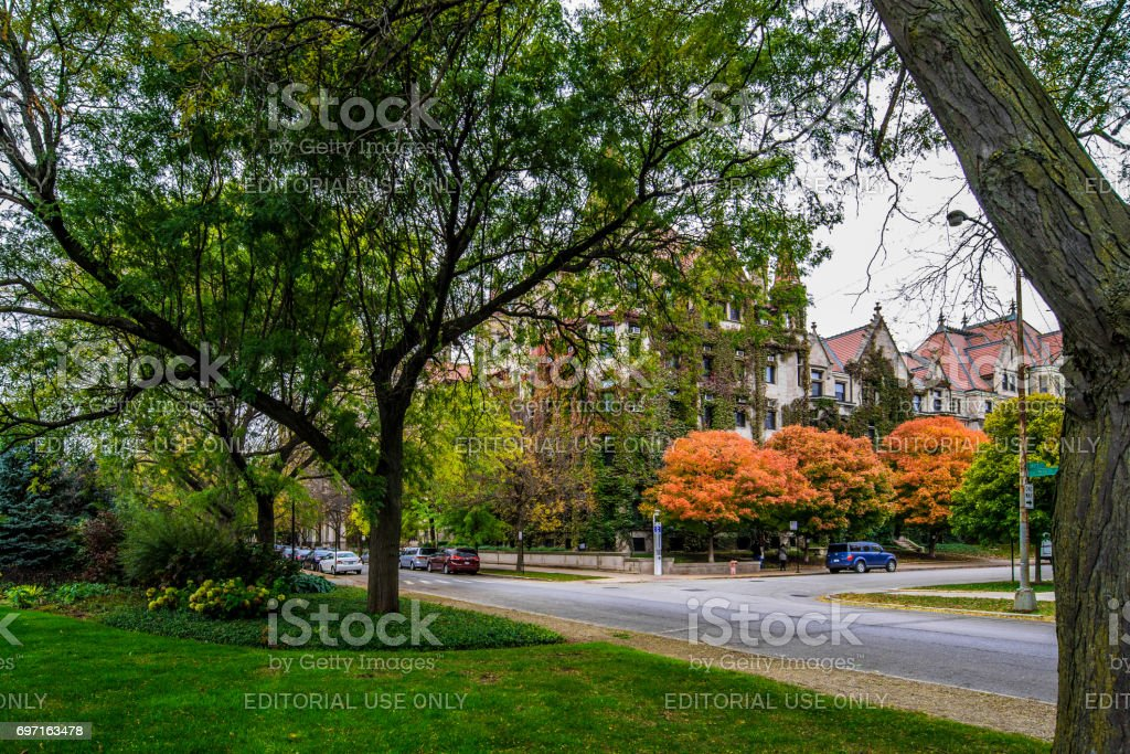 The University of Chicago - 59th St & University Ave stock photo