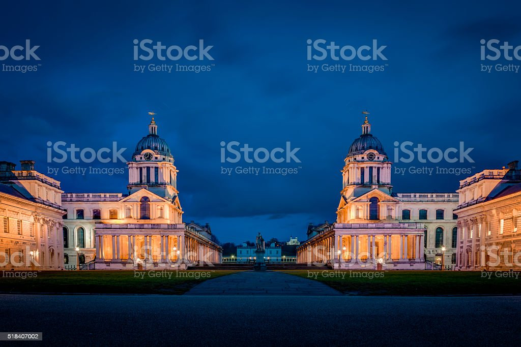 The University of Greenwich at night in London, England stock photo