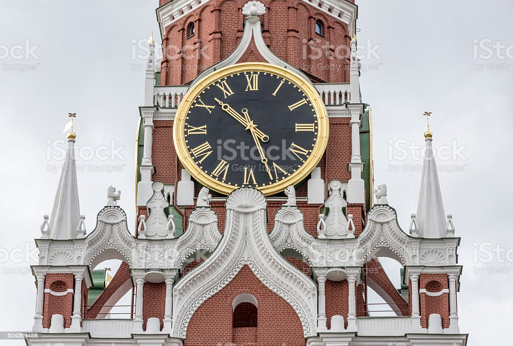 The upper part of the Spassky Tower. Moscow stock photo