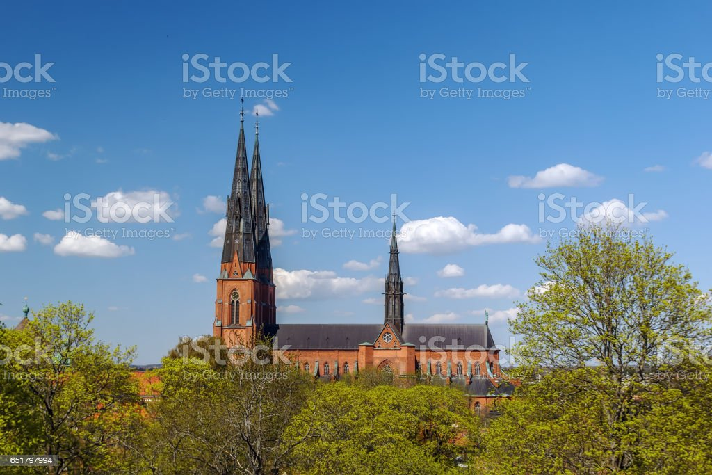 The Uppsala Cathedral, Sweden stock photo