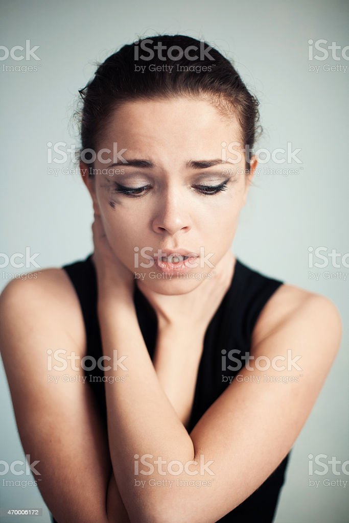 the upset woman  have herself by the throat stock photo