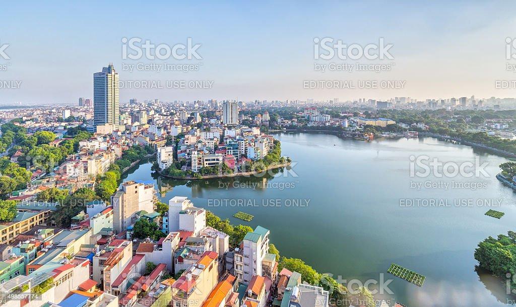 The urban development of capital Hanoi, Vietnam stock photo