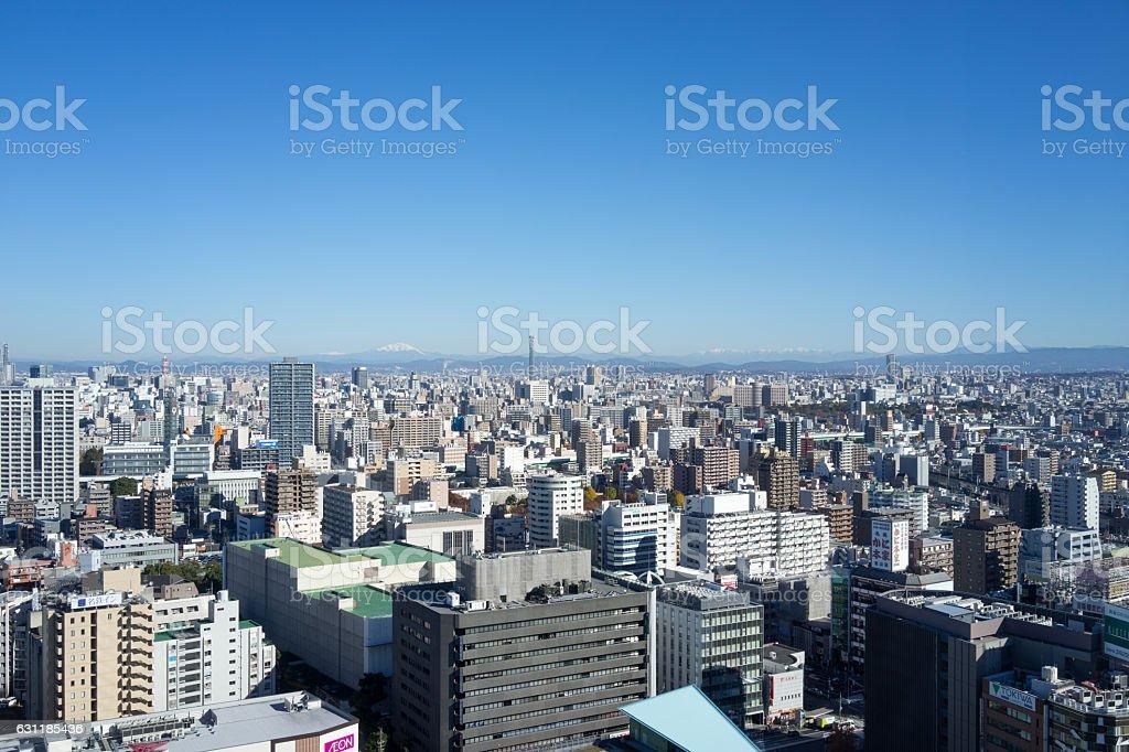 The urban landscape on Nagoya city. 3 stock photo