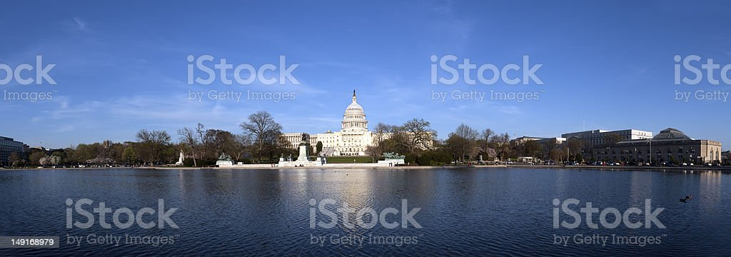 The US Capitol at sunset stock photo