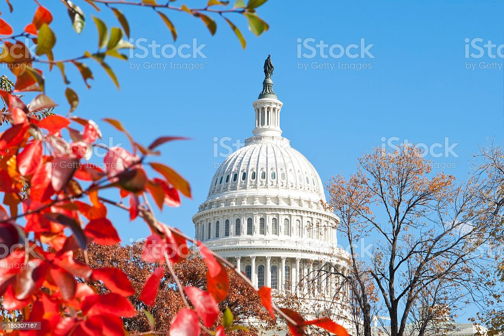 The US Capitol in Washington, DC, in autumn time stock photo