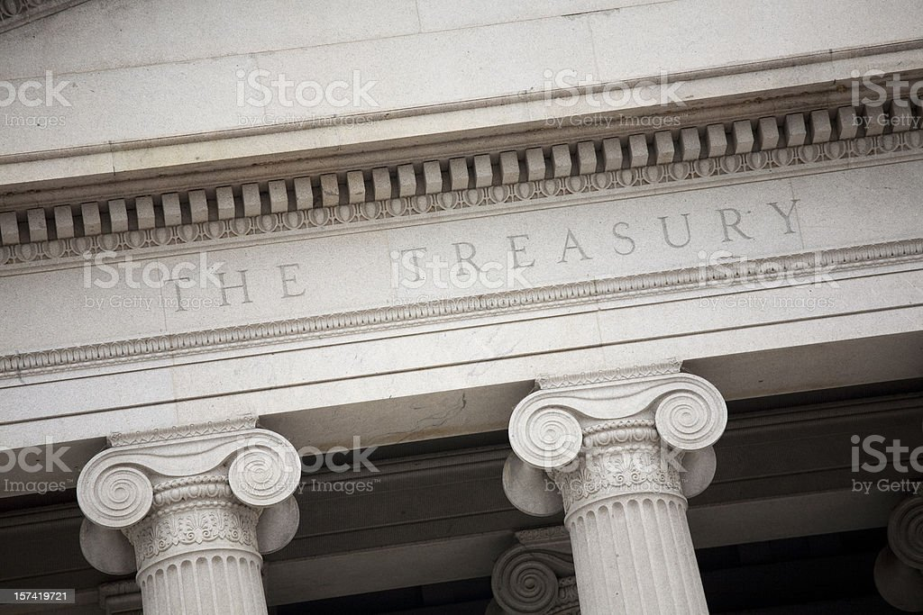 The US Treasury building in Washington DC stock photo