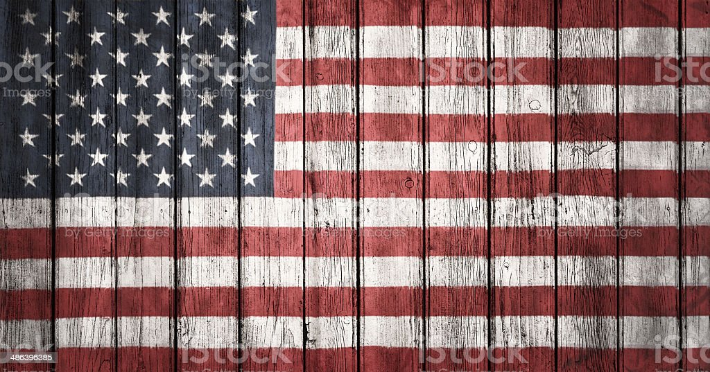 The USA flag painted on wooden plank royalty-free stock photo