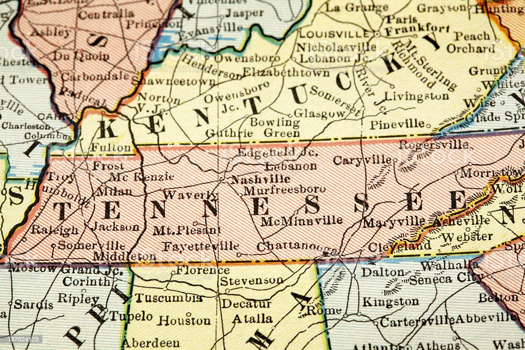 The USA map centered on Tennesse stock photo