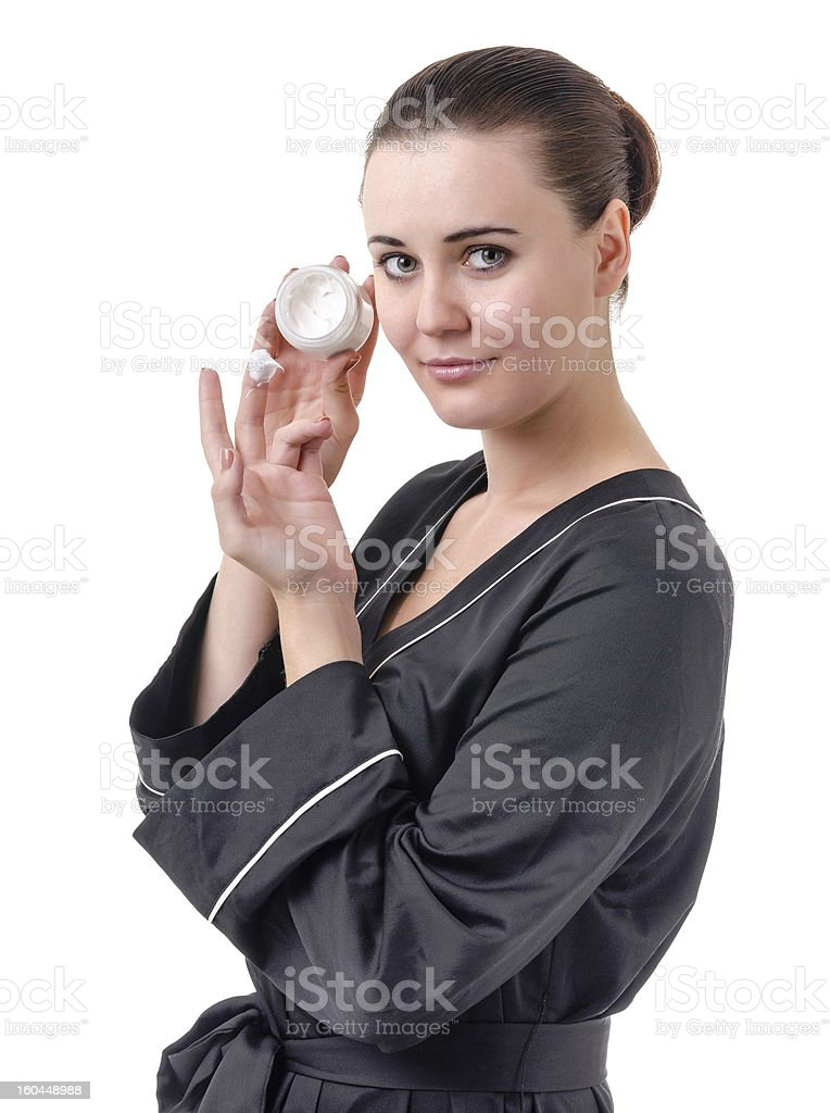The use of cosmetics for skin care royalty-free stock photo