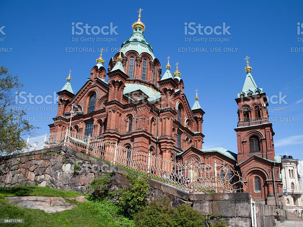The Uspenski Cathedral in Helsinki, Finland stock photo